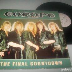 Discos de vinilo: EUROPE - THE FINAL COUNTDOWN...MAXISINGLE DE 1986 - VERSION LARGA + OTROS TEMAS - MUY BUEN ESTADO. Lote 276697078
