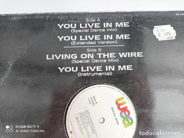 Discos de vinilo: MIGUEL BOSE -You Live In Me - MAXI SINGLE ESPAÑA WEA 1986 // USA REMIX DISCO DE VINILO - Foto 5 - 276727913