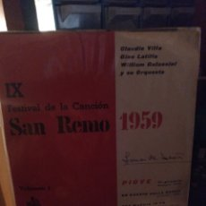 Discos de vinilo: SAN REMO 1959. Lote 276756223