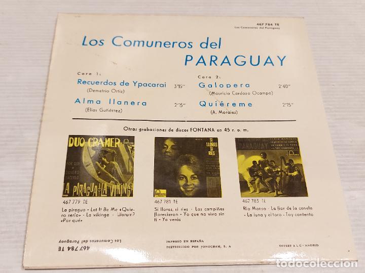 Discos de vinilo: LOS COMUNEROS DEL PARAGUAY / RECUERDOS DE YPACARAI + 3 / EP-FONTANA-1965 / MBC. ***/*** - Foto 2 - 276787728