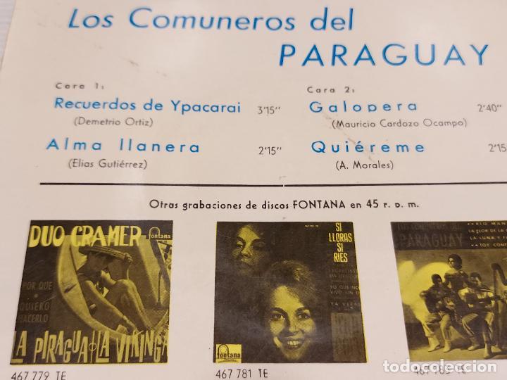 Discos de vinilo: LOS COMUNEROS DEL PARAGUAY / RECUERDOS DE YPACARAI + 3 / EP-FONTANA-1965 / MBC. ***/*** - Foto 3 - 276787728