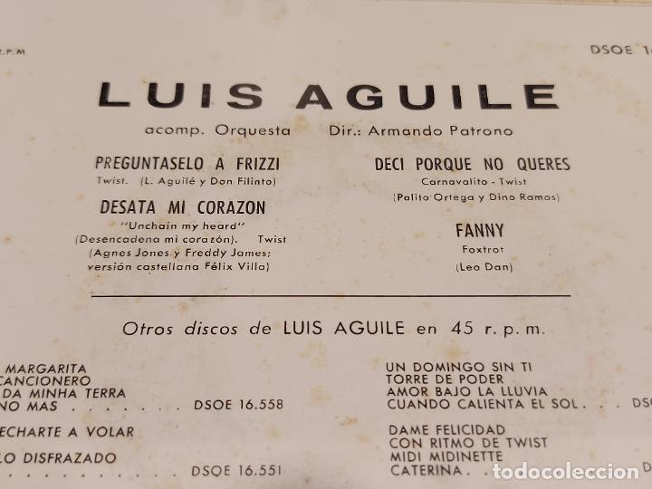 Discos de vinilo: LUIS AGUILE / PREGÚNTASELO A FRIZZI + 3 /EP - ODEON-1964 / LUJO. ****/**** - Foto 3 - 276788178