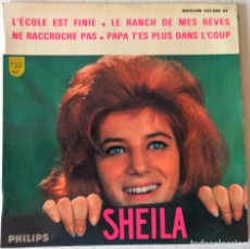 Discos de vinilo: SHEILA - L´ECOLE EST FINIE + 3 TEMAS EP PHILIPS - EDIC. FRANCESA 1963. Lote 276794738