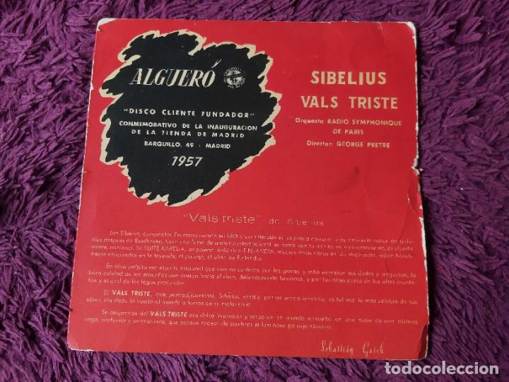 """ALGUERÓ - SIBELIUS ,VINYL 7"""" SINGLE 1957 SPAIN DISCO CLIENTE FUNDADOR (Música - Discos - Singles Vinilo - Clásica, Ópera, Zarzuela y Marchas)"""