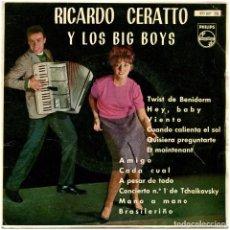 Discos de vinilo: RICARDO CERATTO Y LOS BIG BOYS - TWIST DE BENIDORM - EP SPAIN 1962 - PHILIPS 433 897 PE. Lote 276936763