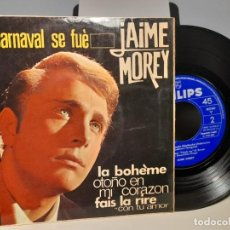 Discos de vinilo: EP JAIME MOREY : EL CARNAVAL SE FUE + LA BOHEMIA ( CHARLES AZNAVOUR) + 2. Lote 276974553