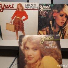 Discos de vinilo: 3 SINGLES DE YURI : LLENA DE DULZURA + MALDITA PRIMAVERA + ESTE AMOR YA NO SE TOCA. Lote 276974733