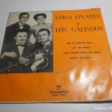Discos de vinilo: SINGLE LUISA LINARES Y LOS GALINDOS. DE TU NOVIO QUÉ Y OTRAS. COLUMBIA SPAIN (BUEN ESTADO). Lote 276979963