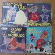Discos de vinilo: WALT DISNEY / BLANCANIEVES / DAMA Y VAGABUNDO / RESCATADORES ... EPS CUENTOS Y MAS DISCOS DE VINILO. Lote 277007788