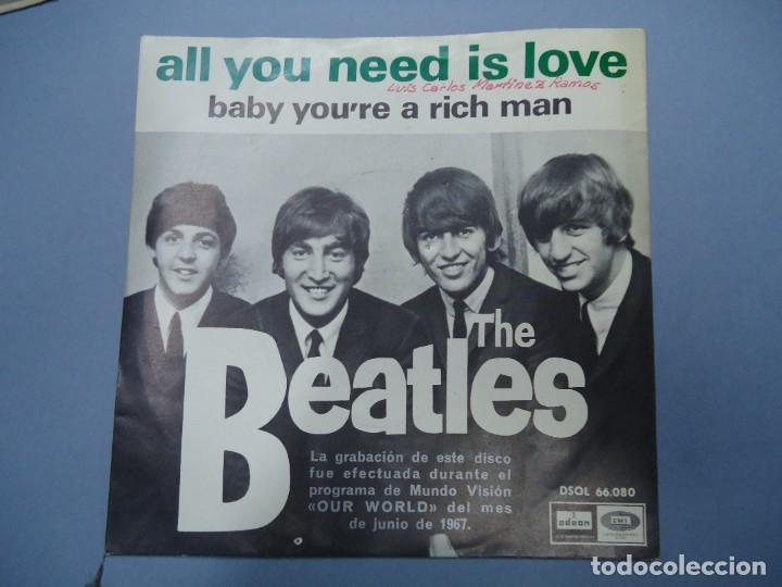 THE BEATLES ALL YOU NEED IS LOVE - BABY YOU´RE A RICH MAN 1967 SINGLE DSOL 66080 SINGLE DE THE BEAT (Música - Discos - Singles Vinilo - Pop - Rock Internacional de los 50 y 60)