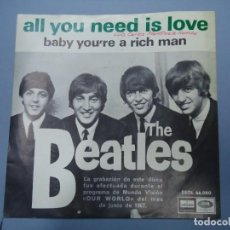 Discos de vinilo: THE BEATLES ALL YOU NEED IS LOVE - BABY YOU´RE A RICH MAN 1967 SINGLE DSOL 66080 SINGLE DE THE BEAT. Lote 277049223