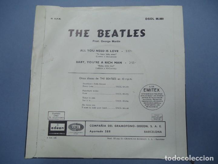 Discos de vinilo: THE BEATLES ALL YOU NEED IS LOVE - BABY YOU´RE A RICH MAN 1967 single DSOL 66080 SINGLE DE THE BEAT - Foto 2 - 277049223