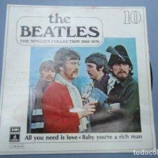 Discos de vinilo: THE BEATLES - ALL YOU NEED IS LOVE BABY YOU`RE A RICH MAN EDICIÓN LIMITADA DEL CONJUNTO DE THE BEATE. Lote 294457663