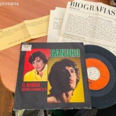 Discos de vinilo: SANDRO (EL MANIQUI) SINGLE 1970 CON HOJA PROMO Y NOTA PRENSA (EPI24). Lote 277085548
