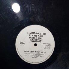 Discos de vinilo: GRANDMASTER FLASH MELLE MEL - WHITE LINES (DON´T DO IT) VINILO 12 INCH MAXI 45 RPM SINGLE 1990-UK G+. Lote 277110338