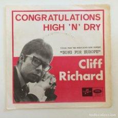 Discos de vinilo: CLIFF RICHARD – CONGRATULATIONS / HIGH 'N' DRY SWEDEN,1968 COLUMBIA. Lote 277113438