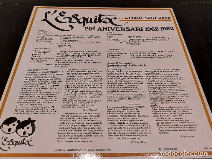Discos de vinilo: LESQUITX / CORAL SANT JORDI / 20 ANIVERSARI 1962-1982 / LP - AUDIOFÓN-1982 / MBC. ***/*** - Foto 2 - 277148503