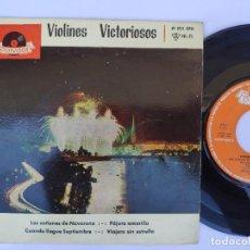 Discos de vinilo: EP VIOLINES VICTORIOSOS - LOS CAÑONES DE NAVARONE / CUANDO LLEGUE SEPTIEMBRE / PAJARO AMARILLO + 1. Lote 277159468