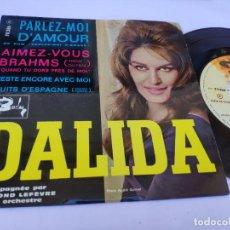 Discos de vinilo: DALIDA - EP FRANCE PS - MINT * PARLEZ-MOI * DU FILM PARLE-MOI D' AMOUR * SPANISH HARLEM. Lote 277169348