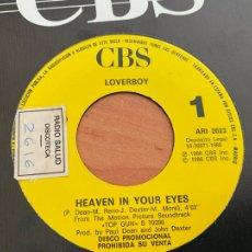 Discos de vinilo: LOVERBOY (HEAVEN IN YOUR EYES) SINGLE ESPAÑA 1986 PROMO (EPI24). Lote 277169418