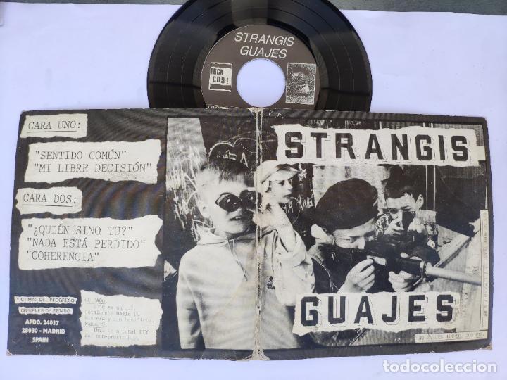 Discos de vinilo: STRANGIS GUAJES - EP Spain PS - MINT * CON LIBRETO * VICTIMAS DEL PROGRESO / CRIMENES DE ESTADO - Foto 3 - 277169818