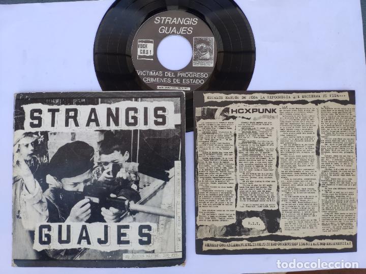 STRANGIS GUAJES - EP SPAIN PS - MINT * CON LIBRETO * VICTIMAS DEL PROGRESO / CRIMENES DE ESTADO (Música - Discos de Vinilo - EPs - Grupos Españoles de los 90 a la actualidad)