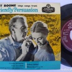 Discos de vinilo: PAT BOONE - EP UK PS - EX * FRIENDLY PERSUASION * LONDON PRE-D 1068. Lote 277170748