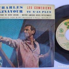 Discos de vinilo: CHARLES AZNAVOUR - EP SPAIN PS - MINT * LES COMEDIENS - BARCLAY SBGE 83052 * AÑO 1962. Lote 277170948