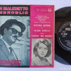 Discos de vinilo: OST UN MALEDETTO IMBROGLIO - 45 SPAIN PS - MINT * SINNO' ME MORO / SOSPETTO * RCA 1961. Lote 277172233
