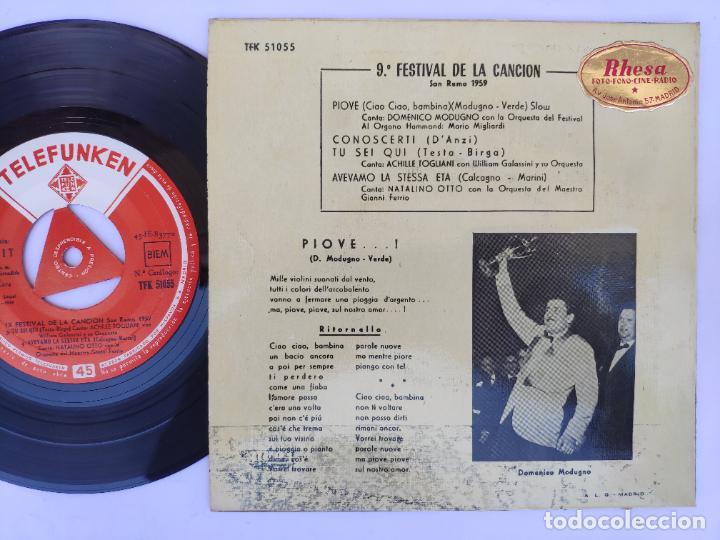 Discos de vinilo: PIOVE - EP Spain PS - MINT * 9ª FESTIVAL DE LA CANCIÓN - SAN REMO 1959 - Foto 2 - 277180128