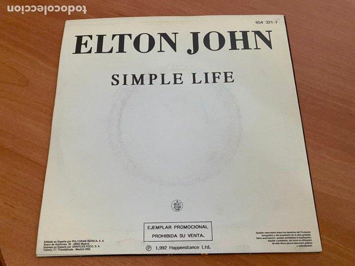 Discos de vinilo: ELTON JOHN (SIMPLE LIFE) SINGLE 1992 ESPAÑA PROMO (EPI24) - Foto 3 - 277187848