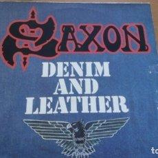 Discos de vinilo: SAXON DENIM AND LEATHER LP. Lote 277275328