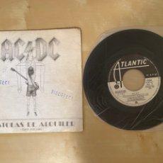 """Discos de vinilo: AC/DC - PISTOLAS DE ALQUILER (GUNS FOR HIRE) - PROMO SINGLE 7"""" - 1983 SPAIN. Lote 277277903"""