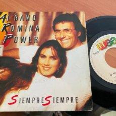 Discos de vinilo: AL BANO Y ROMINA POWER (SIEMPRE SIEMPRE) SINGLE 1986 ESPAÑA PROMO (EPI24). Lote 277279643