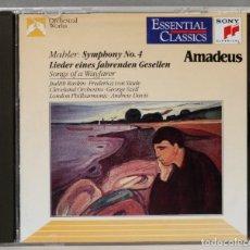 Discos de vinilo: CD. MAHLER. SYMPHONY NO. 4. LIEDER EINES FAHRENDEN GESELLEN. SONGS OF A WAYFARER. Lote 277282968