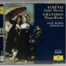 Discos de vinilo: 2 CD. ALBENIZ. SUITE IBERIA. GRANADOS. PIANO WORKS. PINZOLA. Lote 277285408