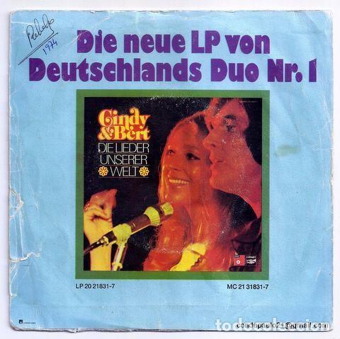 Discos de vinilo: DISCO SINGLE - CINDY & BERT - PS 18 028 (1974) - Foto 2 - 277304893