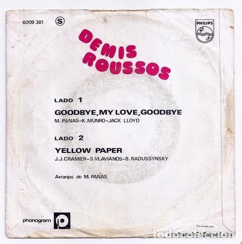 Discos de vinilo: DISCO SINGLE - DEMIS ROUSSUS - 6009 381 (1973) - Foto 2 - 277304993