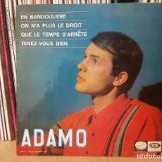 Discos de vinilo: *ADAMO - EN BANDOULIERE + 3 - EP AÑO 1966 - PROMOCIÓN - LEER DESCRIPCIÓN. Lote 277625003