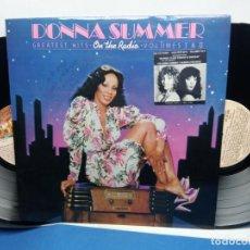 Discos de vinilo: DONNA SUMMER GEATEST HITS ON THE RADIO VOL. I & II LP 2 X VINYL + POSTER. Lote 277647103