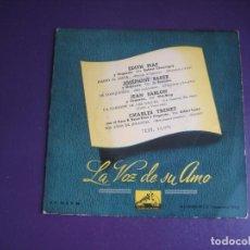 Discos de vinilo: EDITH PIAF/ JOSEPHINE BAKER/ JEAN SABLON/ CHARLES TRENET - EP LA VOZ DE SU AMO 195? CHANSON FRANCIA. Lote 277654623