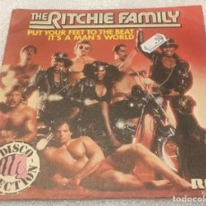 Discos de vinilo: SINGLE PROMOCIONAL THE RITCHIE FAMILY - PUT YOUR FEET TO THE BEAT - IT'S A MAN'S WORLD -PED.MIN 7€. Lote 277663783