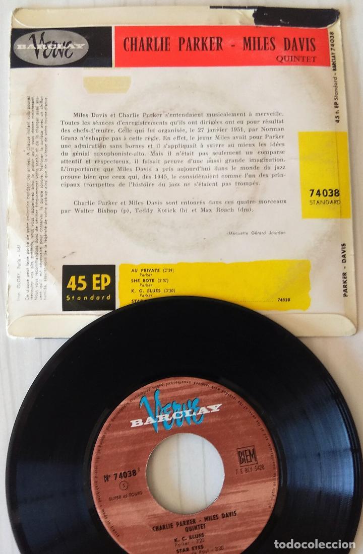 Discos de vinilo: CHARLIE PARKER, MILES DAVIS AU PRIVATE + 3 TEMAS BARCLAY VERVE EDIC. FRANCESA - 1960 - Foto 2 - 277707843