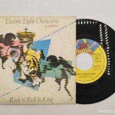 """Discos de vinilo: VINILO DE 7 PULGADAS DE ELECTRIC LIGHT ORCHESTRA QUE CONTIENE """"ROCK """"N"""" ROLL IS KING"""" Y """"AFTER ALL"""".. Lote 277729123"""