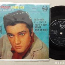 Discos de vinilo: EP ELVIS PRESLEY, LOVING YOU, BLUEBERRY HILL, TRUE LOVE + 1 , ORIGINAL EDICIÓN 33 R.P.M. 1961. Lote 277754688