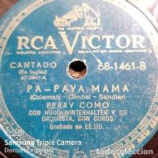 Discos de vinilo: DISCO PASTA PERRY COMO HUGO WINTERHALTER RCA VICTOR C144. Lote 277765678