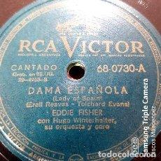 Discos de vinilo: DISCO PASTA EDDIE FISHER Y HUGO WINTERHALTER RCA VICTOR C151. Lote 277788403