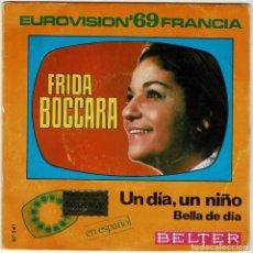 Discos de vinilo: FRIDA BOCCARA - UN DÍA, UN NIÑO / BELLA DE DÍA. SINGLE. Lote 278234028