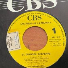 Discos de vinilo: LAS NIÑAS DE MANOLA (EL TAMBORIL DESPERTO) SINGLE 1987 ESPAÑA PROMO (EPI24). Lote 278285748