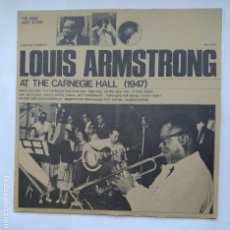 Discos de vinilo: LOUIS ARMSTRONG. AT THE CARNEGIE HALL 1947. COLLECTOR'S EDITION. THE KING JAZZ STORY LP. TDKDA1. Lote 278334288